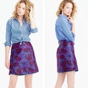 J Crew Midnight Floral Jacquard mini Skirt Sz 2
